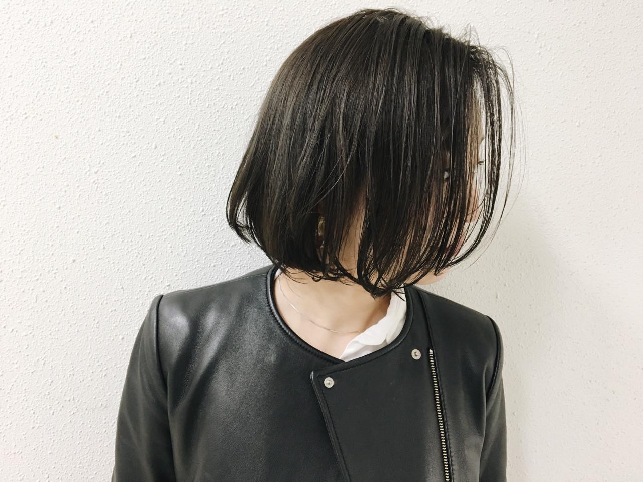 グレー 透明感 ナチュラル ボブ ヘアスタイルや髪型の写真・画像 | 長 賢太郎 / ky-go