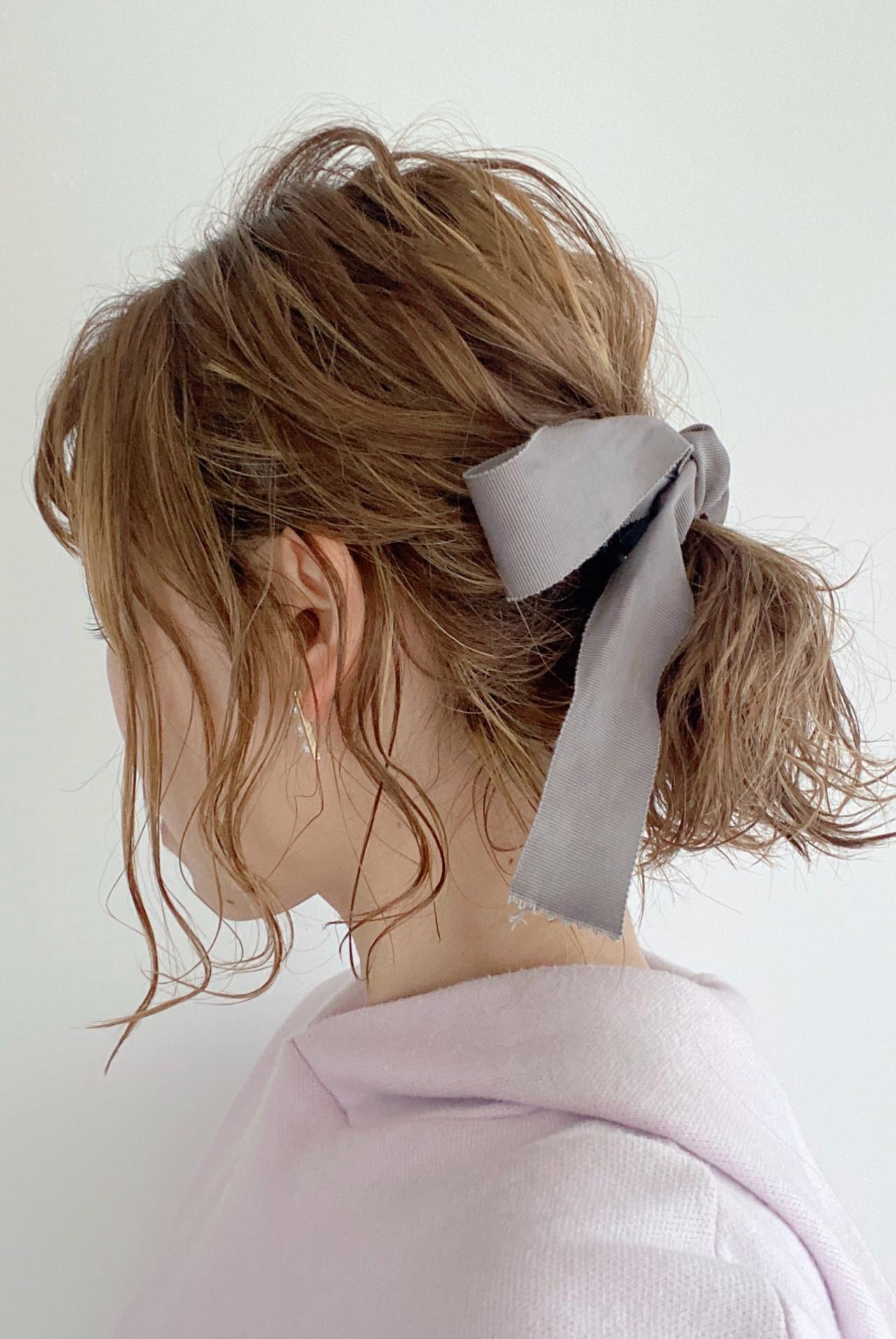 簡単ヘアアレンジ セルフヘアアレンジ ミディアム ヘアアレンジ ヘアスタイルや髪型の写真・画像