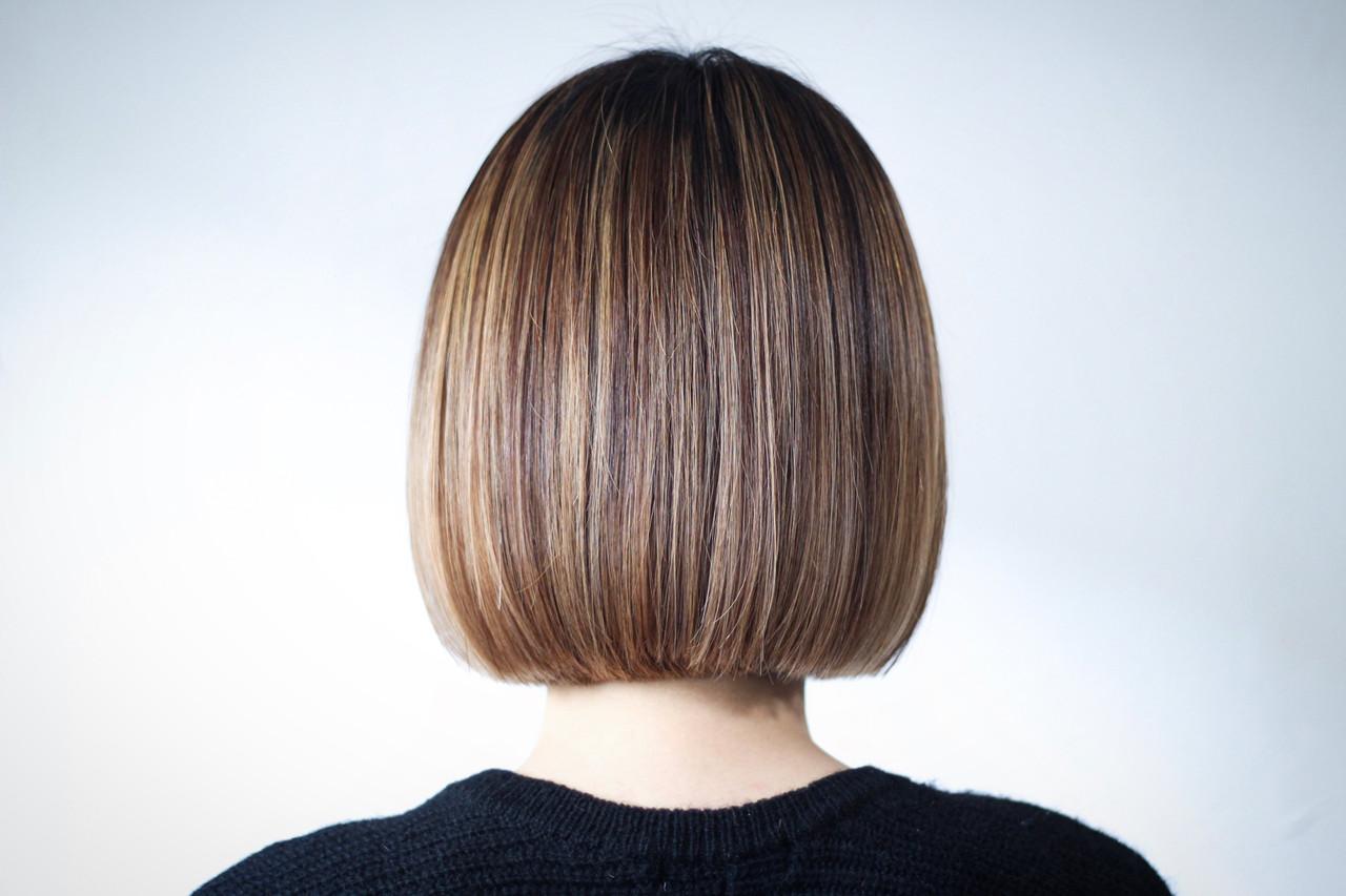 切りっぱなし パープル ラベンダーピンク 切りっぱなしボブ ヘアスタイルや髪型の写真・画像   creap / creap