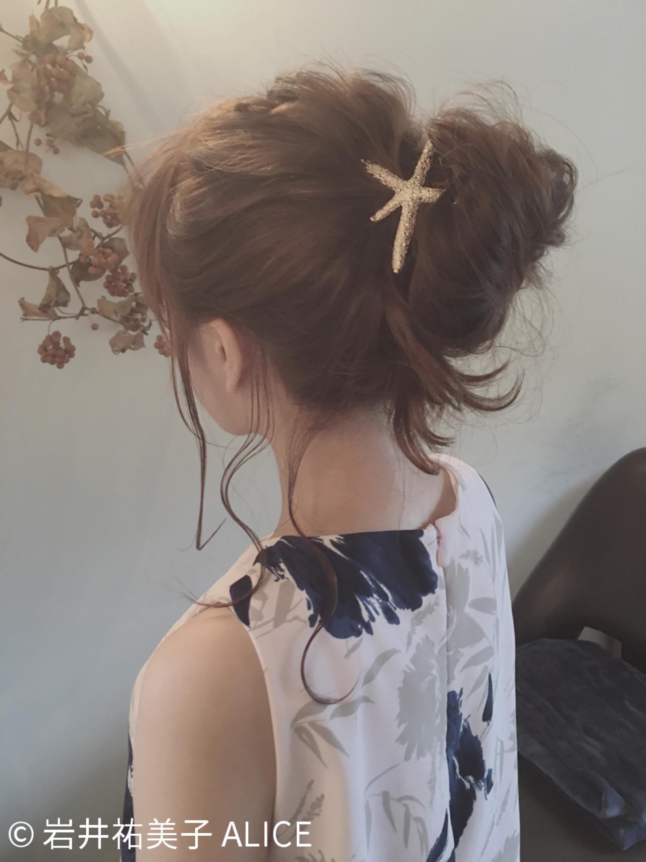 夏 簡単ヘアアレンジ ヘアアレンジ セミロングヘアスタイルや髪型の写真・画像