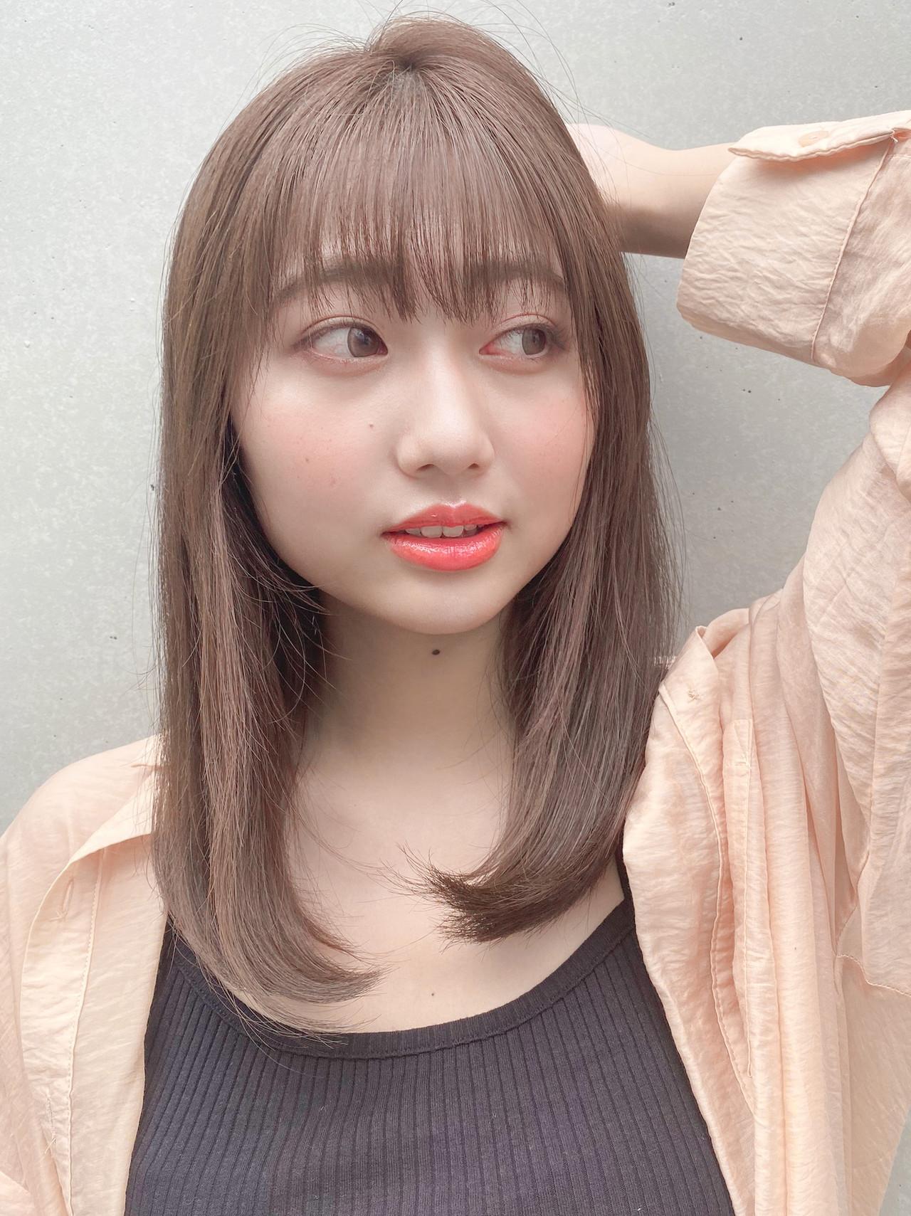 縮毛矯正ストカール 縮毛矯正 セミロング ストレート ヘアスタイルや髪型の写真・画像