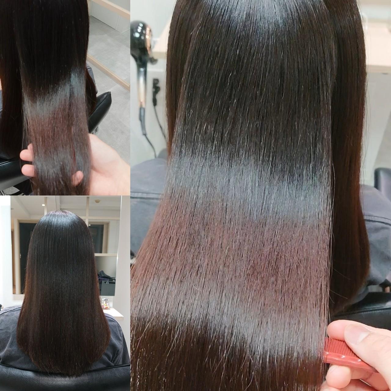 縮毛矯正 ロング 艶髪 髪質改善トリートメントヘアスタイルや髪型の写真・画像