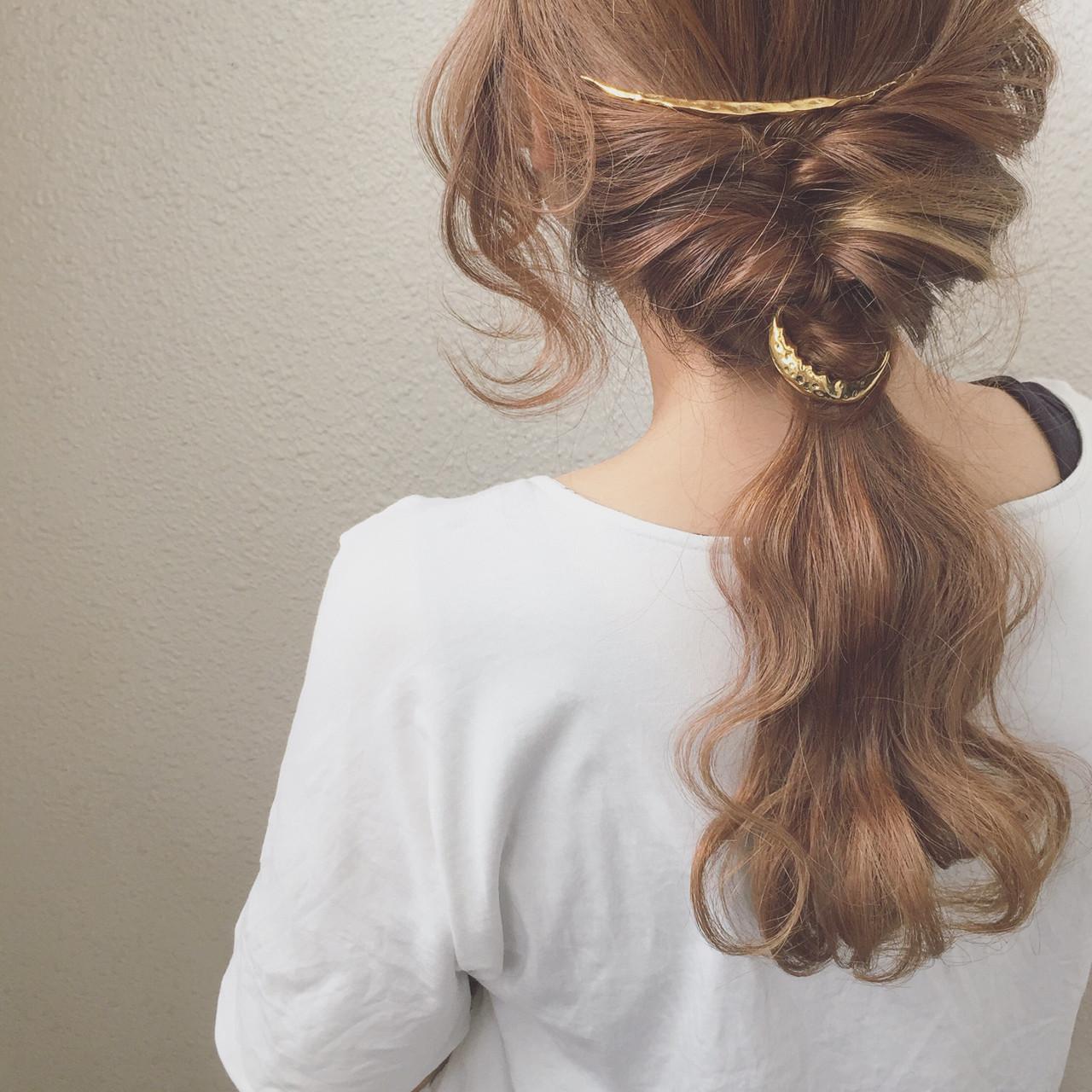 ヘアアレンジ 簡単ヘアアレンジ セミロング ポニーテール ヘアスタイルや髪型の写真・画像 | カワノ ヨウヘイ / GATE.