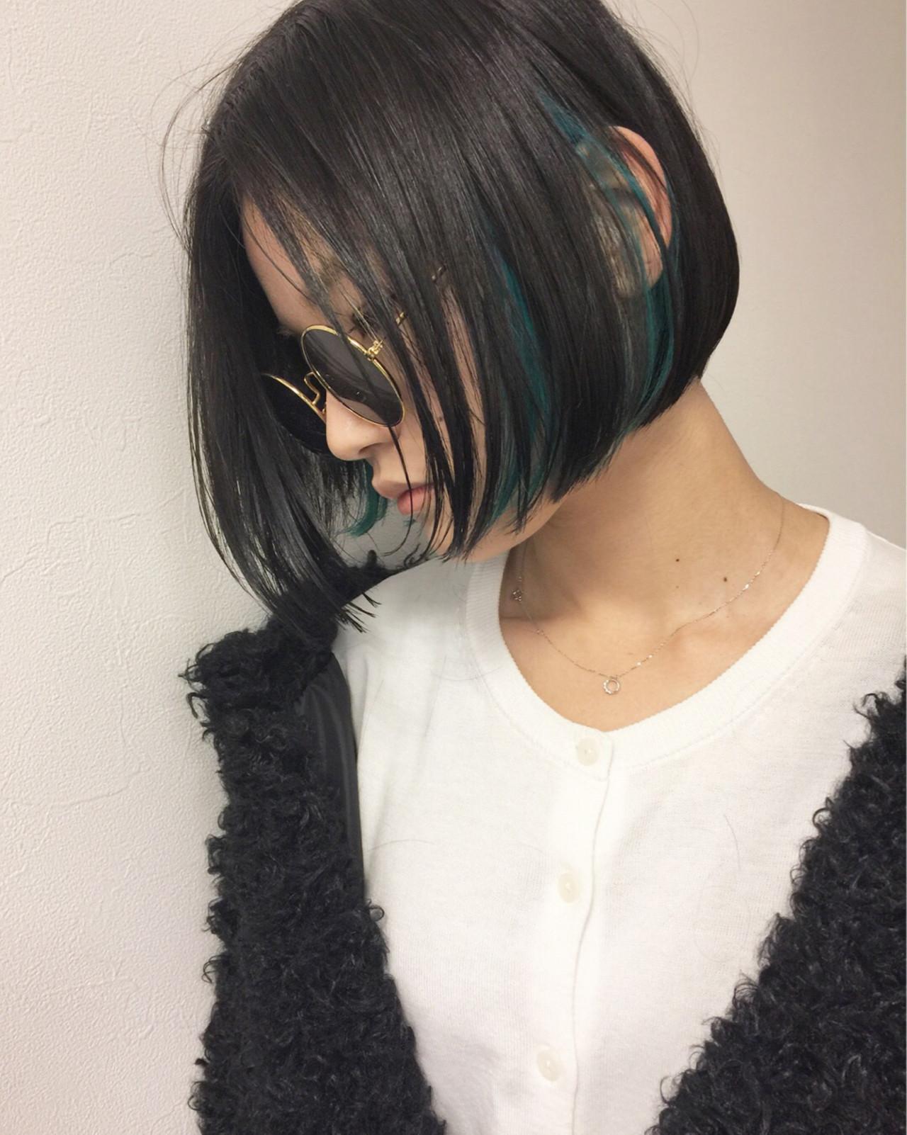 ストリート インナーカラー モード ボブ ヘアスタイルや髪型の写真・画像 | 吉田 哲也 / Hair Gallery Chainon