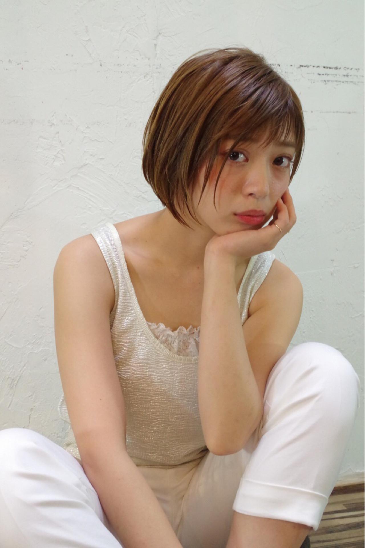 前髪あり アッシュ ナチュラル ボブ ヘアスタイルや髪型の写真・画像 | Nao Kokubun blast / blast