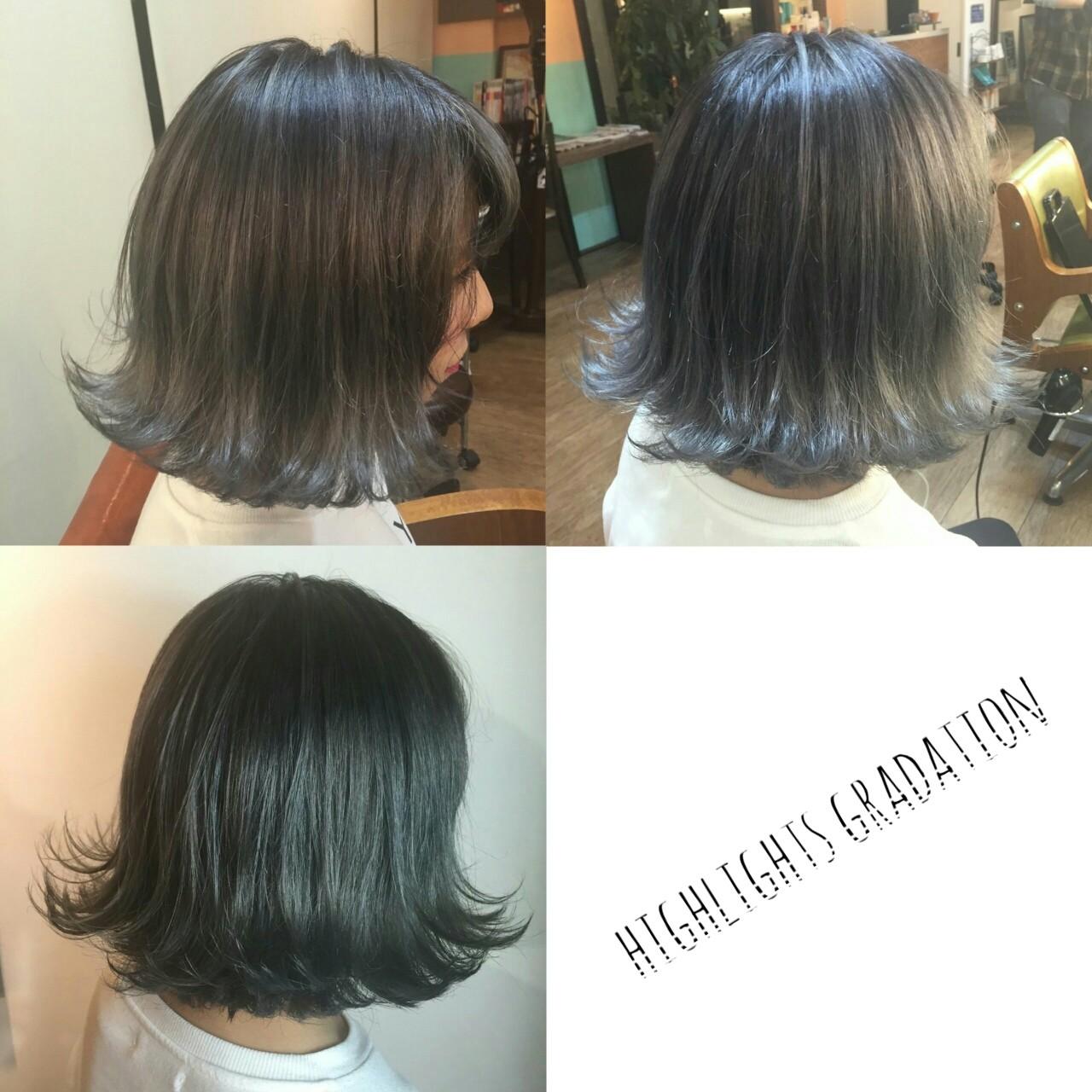 外国人風 ボブ 渋谷系 グラデーションカラーヘアスタイルや髪型の写真・画像