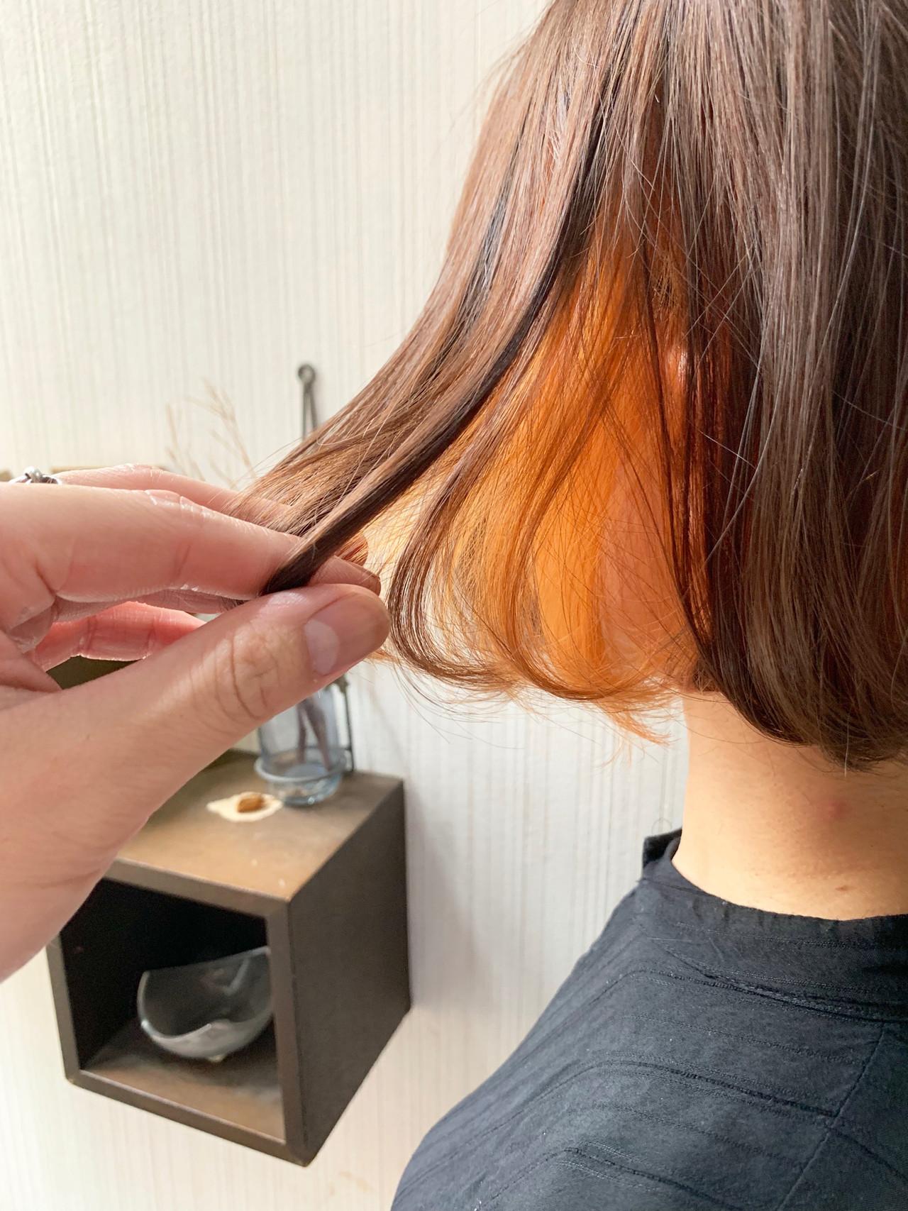 外国人風 透明感カラー ボブ インナーカラーオレンジ ヘアスタイルや髪型の写真・画像 | 土屋一貴 / TOMCAT