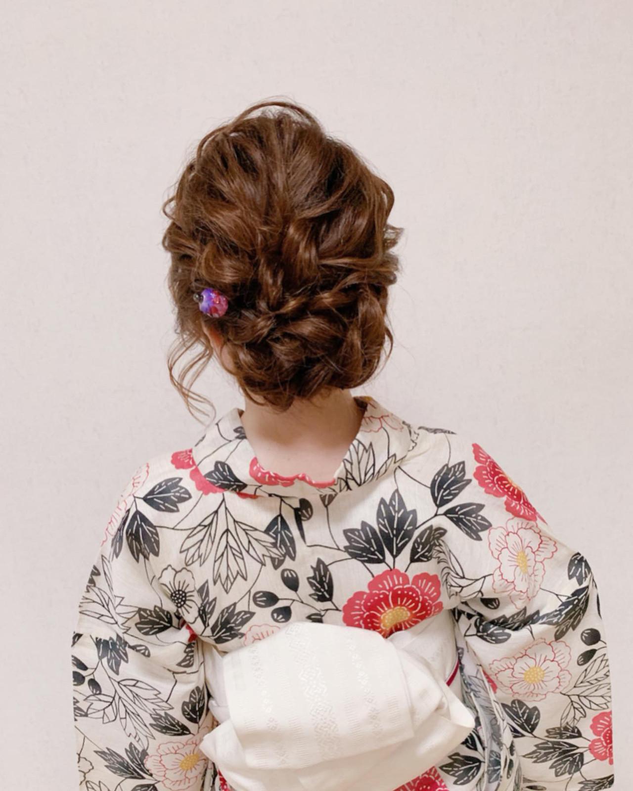 浴衣ヘア エレガント ヘアアレンジ 結婚式 ヘアスタイルや髪型の写真・画像 | Moriyama Mami / 福岡天神ヘアセット・着付け専門店【Three-keys】