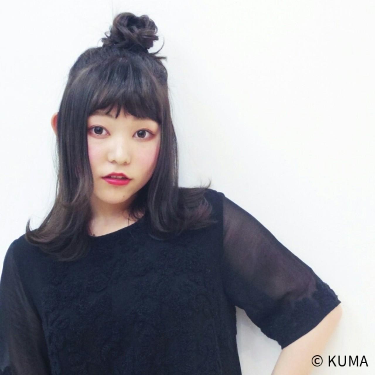 簡単ヘアアレンジ ミディアム ストリート 黒髪 ヘアスタイルや髪型の写真・画像 | KUMA / hair make PUR