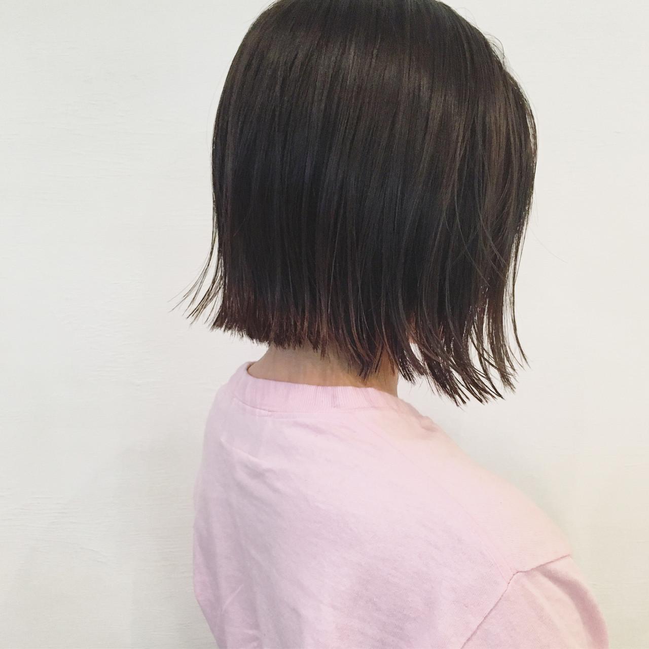 暗髪 ストリート 色気 切りっぱなし ヘアスタイルや髪型の写真・画像 | 三好 佳奈美 / Baco.(バコ)