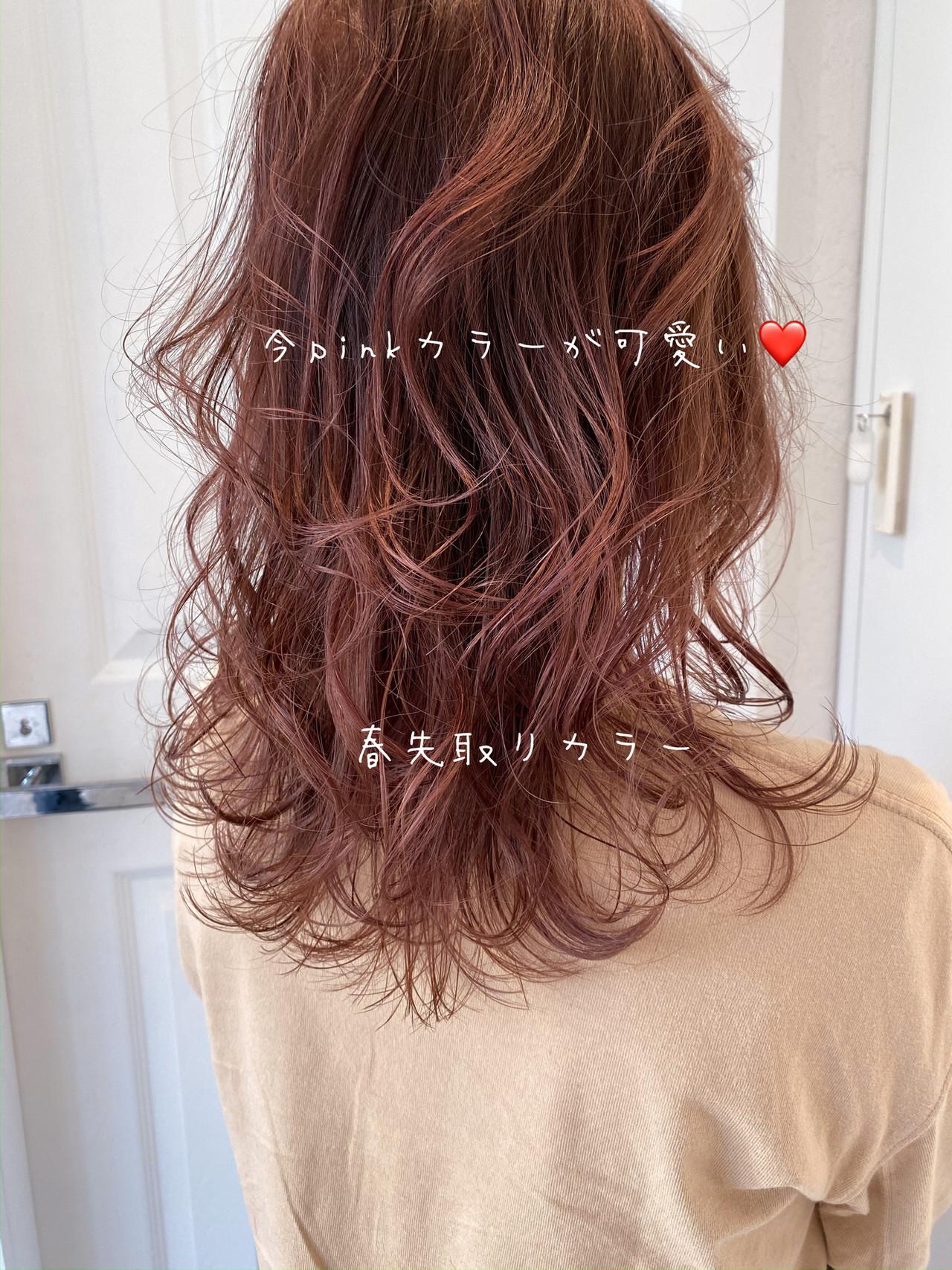 フェミニン ラベンダーピンク ピンクラベンダー セミロングヘアスタイルや髪型の写真・画像