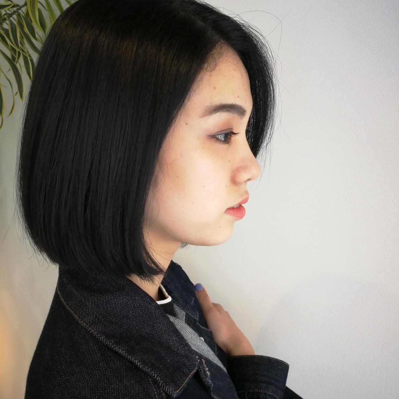 ボブ 黒髪 ヘアカラー スモーキーカラー ヘアスタイルや髪型の写真・画像 | Saori Kastuki / holic