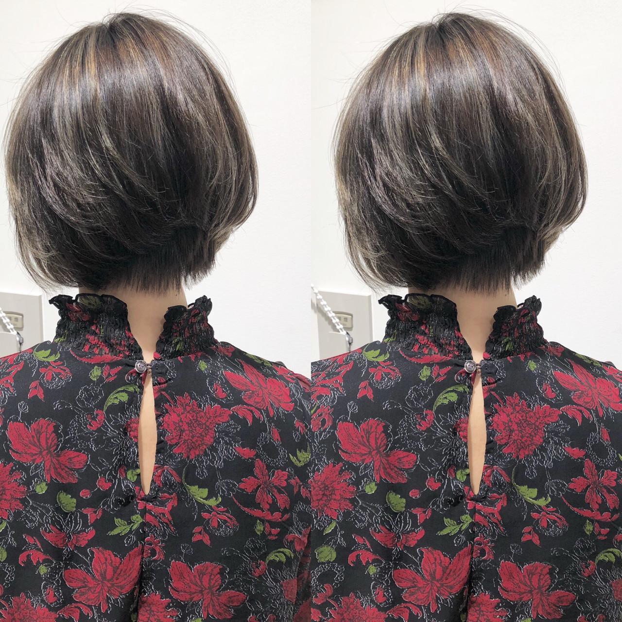 外国人風 ハイライト ボブ フェミニン ヘアスタイルや髪型の写真・画像 | 市岡 久 / BLANCOtres