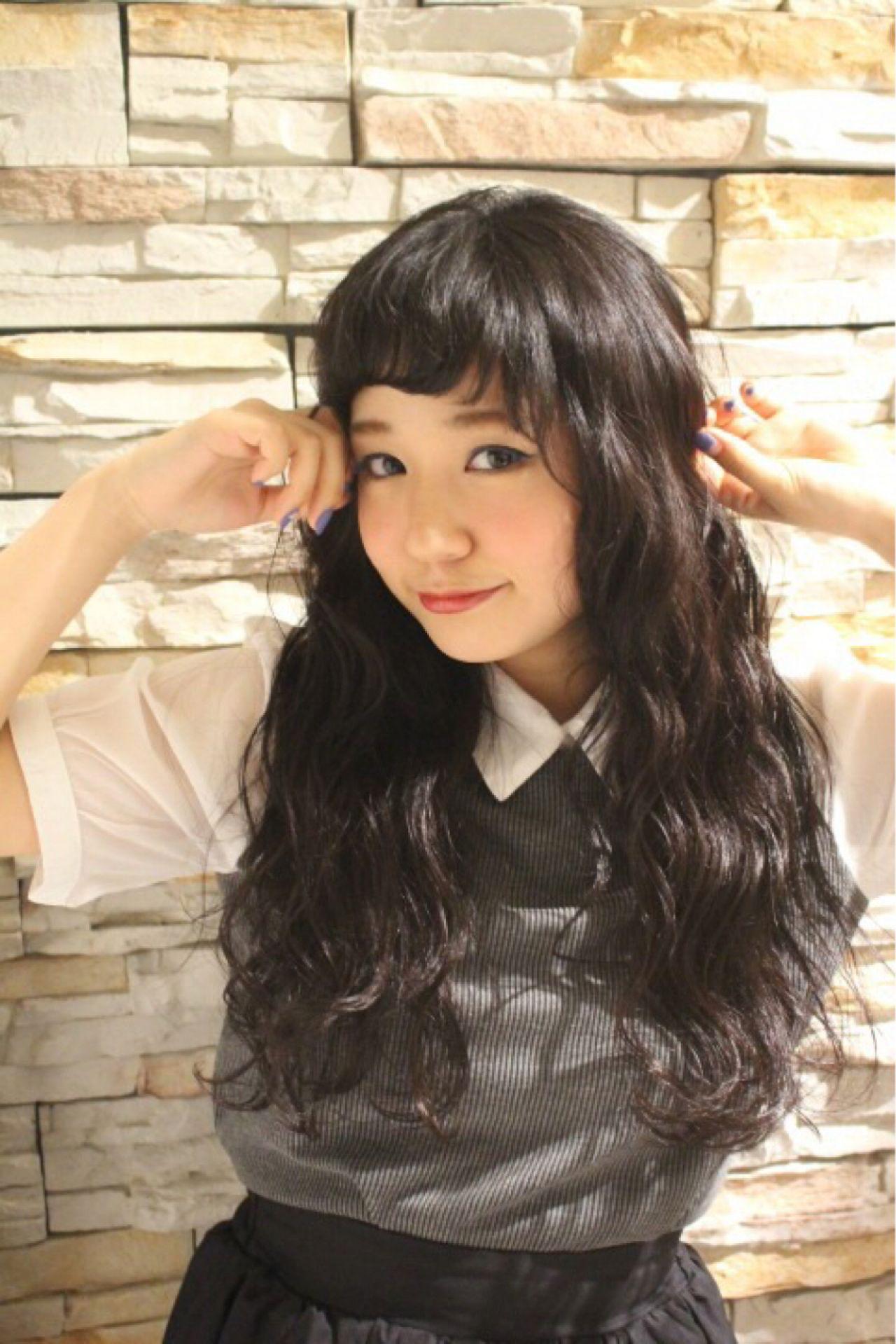 黒髪 ロング ストリート オン眉 ヘアスタイルや髪型の写真・画像 | 設楽エリカ (shidara erika) /