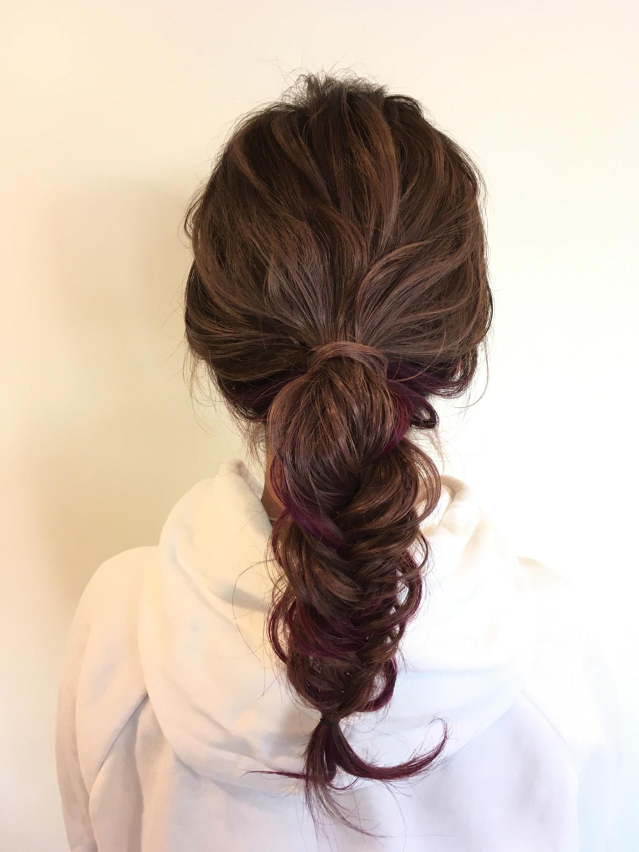 ナチュラル ヘアアレンジ 簡単ヘアアレンジ ピンク ヘアスタイルや髪型の写真・画像 | 植月あずさ / EIKON