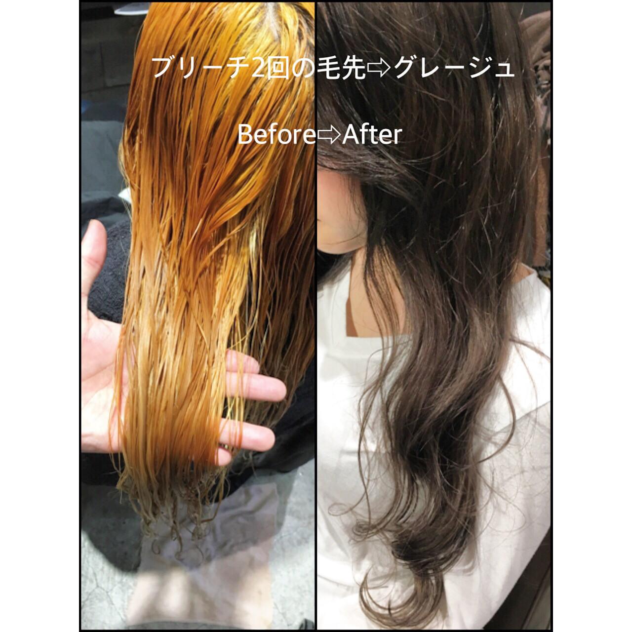 アッシュ ハイライト 暗髪 ロング ヘアスタイルや髪型の写真・画像 | 長谷川 龍太 / hair design tea