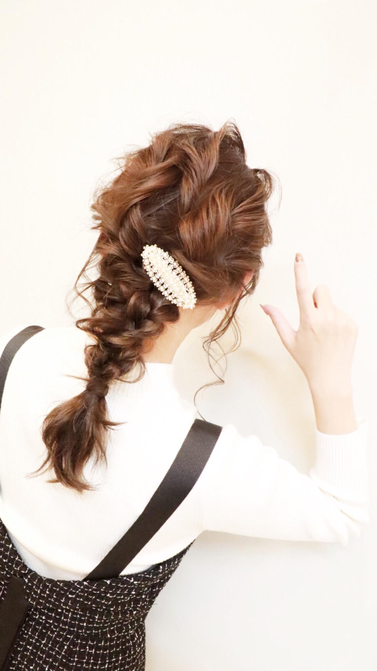 ヘアアレンジ ナチュラル ミディアム セルフヘアアレンジヘアスタイルや髪型の写真・画像