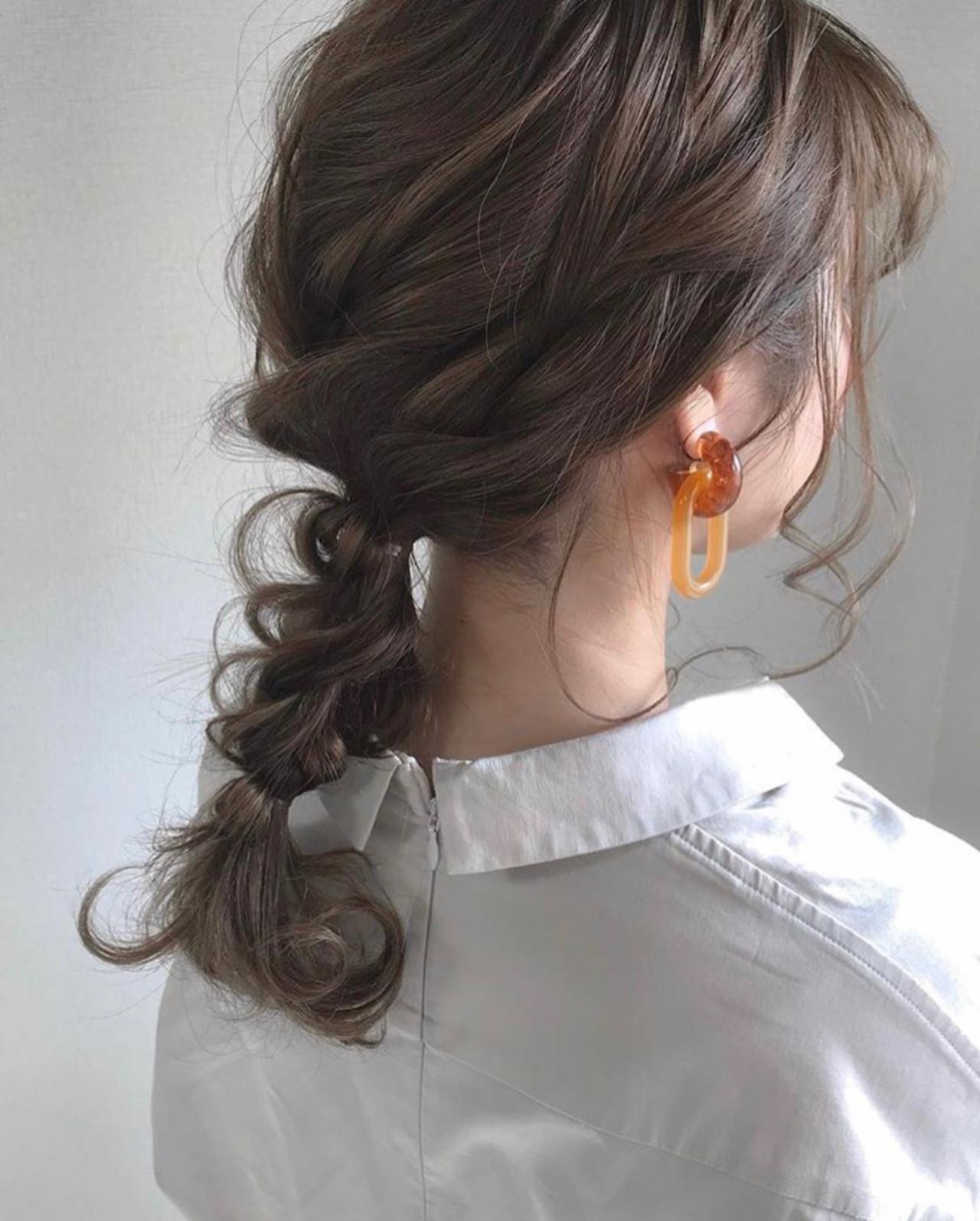 セミロング アウトドア デート ヘアアレンジヘアスタイルや髪型の写真・画像
