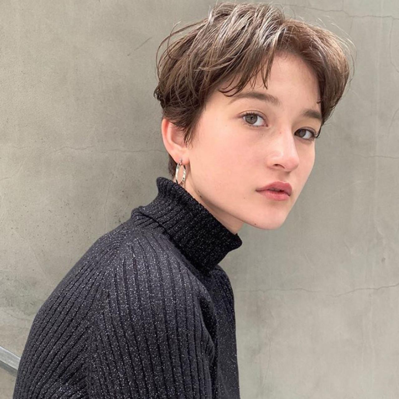 ナチュラル 地毛風カラー ベリーショート ハンサムショート ヘアスタイルや髪型の写真・画像