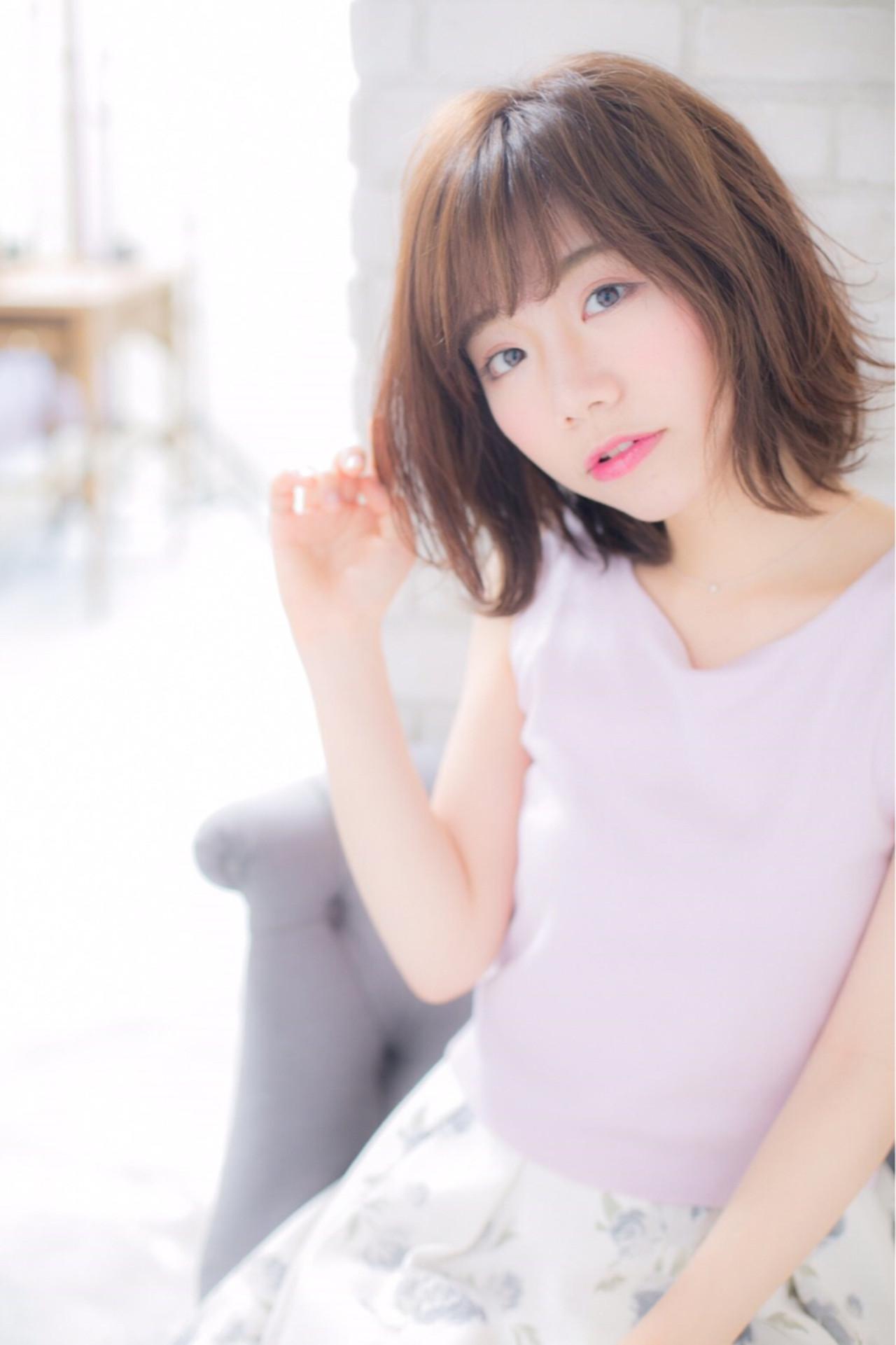 ナチュラル フリンジバング ニュアンス 前髪あり ヘアスタイルや髪型の写真・画像 | risa /
