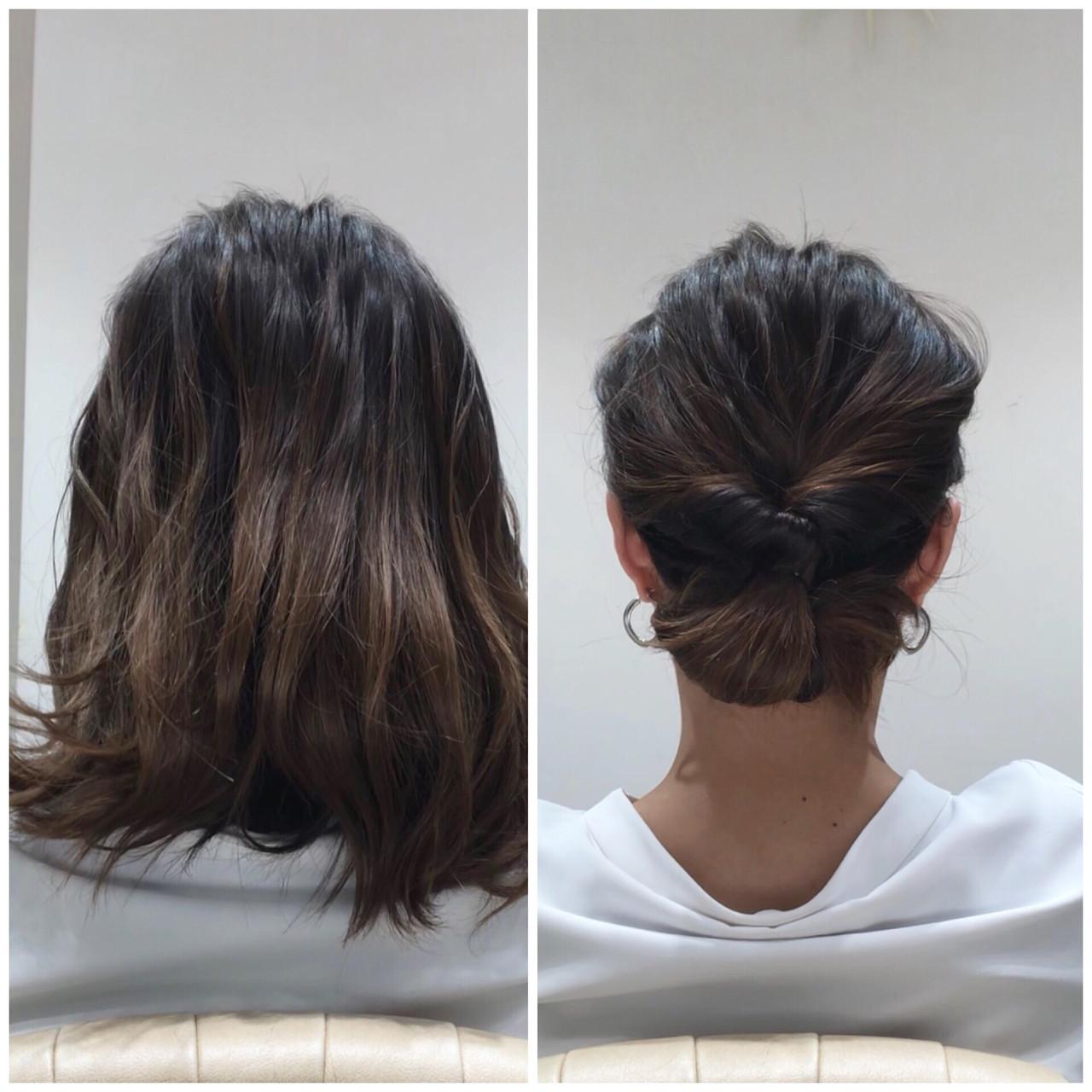 オフィス 簡単ヘアアレンジ デート ミディアム ヘアスタイルや髪型の写真・画像   Sena Momiki / GINZA PEEK-A-BOO 中央通り