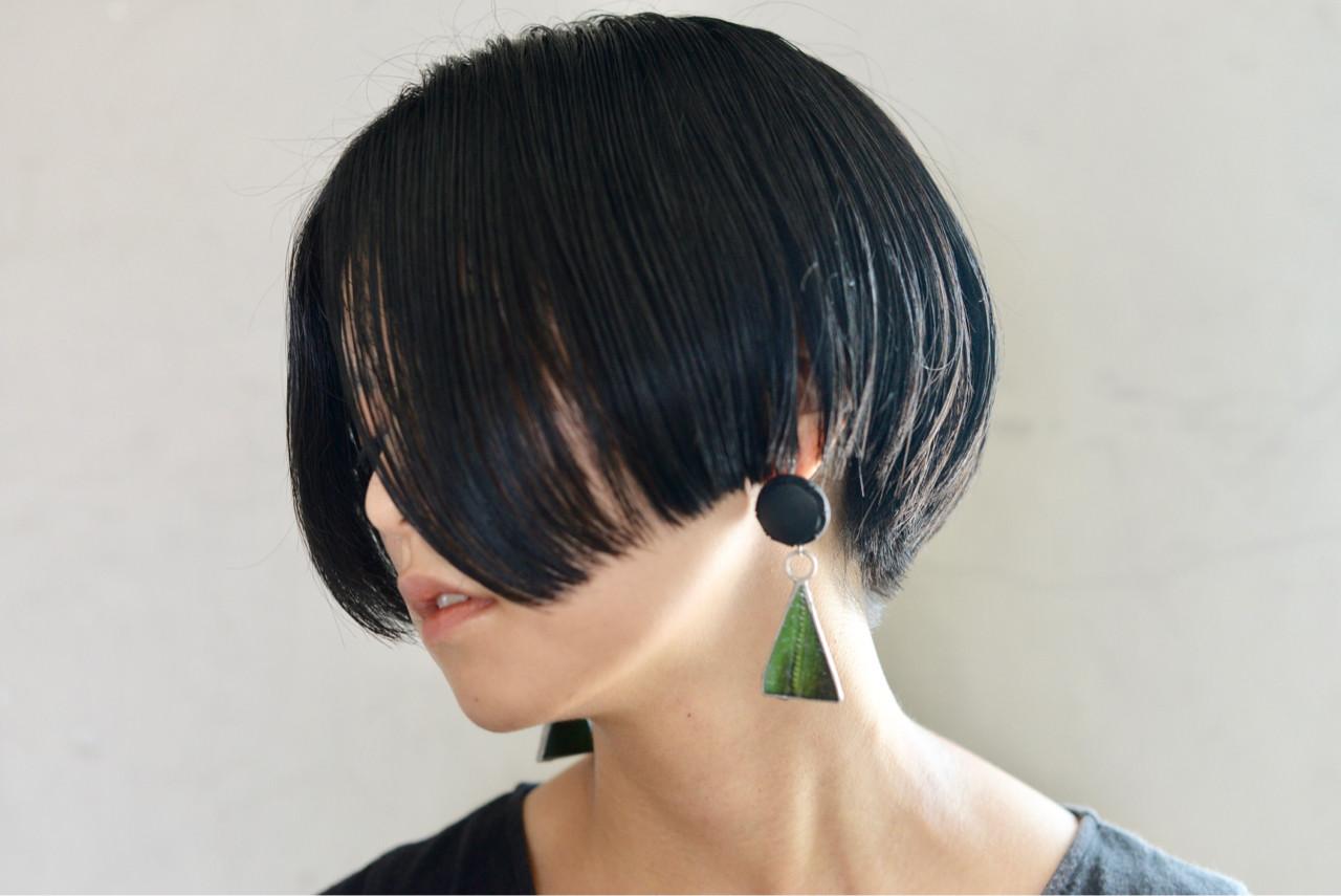 ショートボブ 大人女子 ストリート ボブヘアスタイルや髪型の写真・画像
