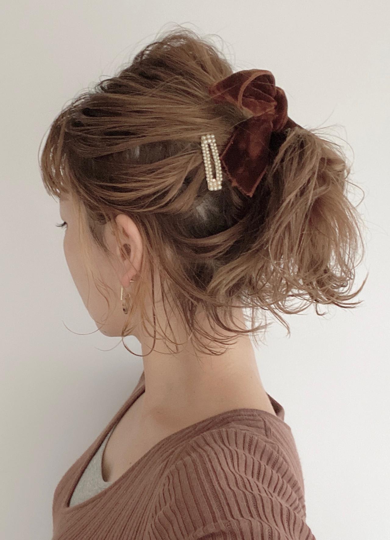 ヘアアレンジ ポニーテール ナチュラル ボブ ヘアスタイルや髪型の写真・画像