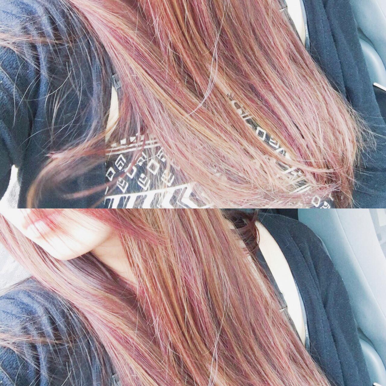 大人女子 ロング ナチュラル ピンク ヘアスタイルや髪型の写真・画像 | creap / creap