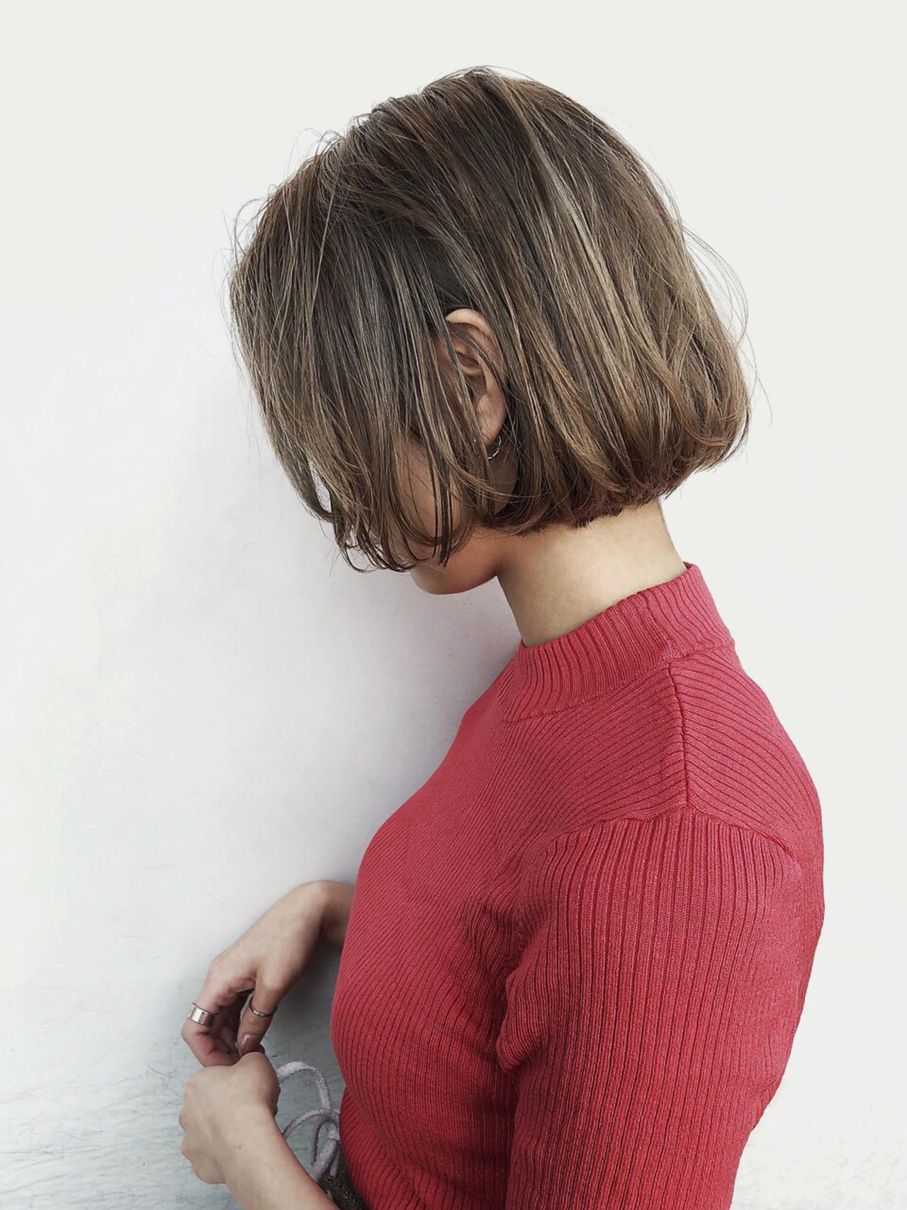 黒髪 ボブ アウトドア ストリートヘアスタイルや髪型の写真・画像