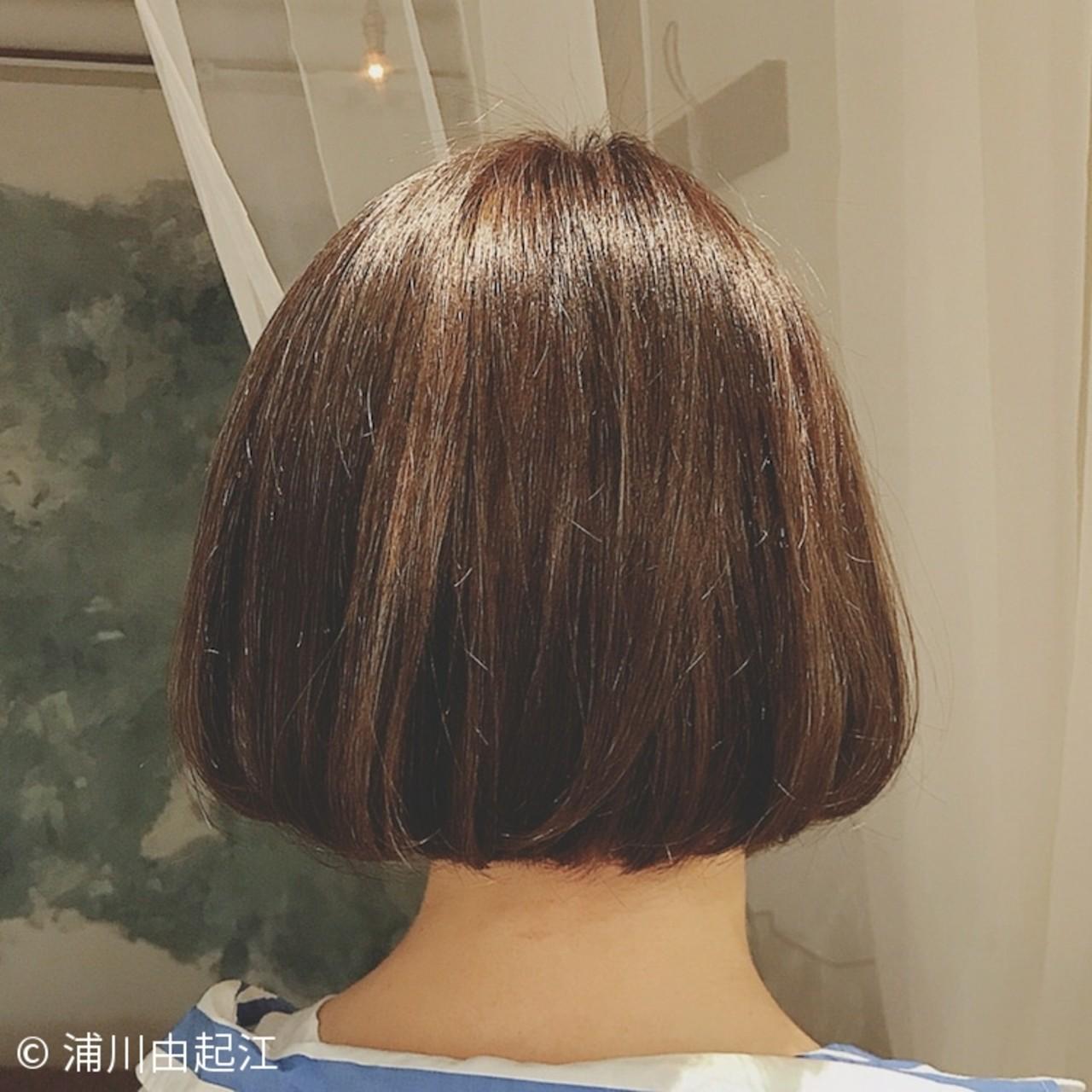 外国人風 デート ボブ ハイライト ヘアスタイルや髪型の写真・画像 | 浦川由起江 / nanon