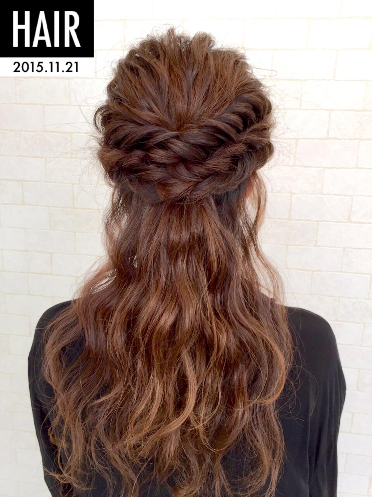 ヘアアレンジ ゆるふわ フェミニン ロング ヘアスタイルや髪型の写真・画像 | 平野ちなみ / Petit chou chou