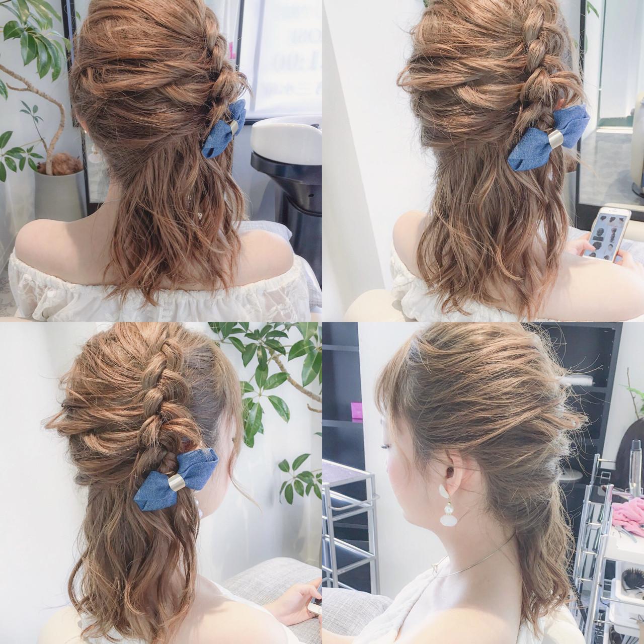 ハーフアップ ガーリー ヘアアレンジ セミロング ヘアスタイルや髪型の写真・画像 | 美容師HIRO/Amoute代表 / Amoute/アムティ