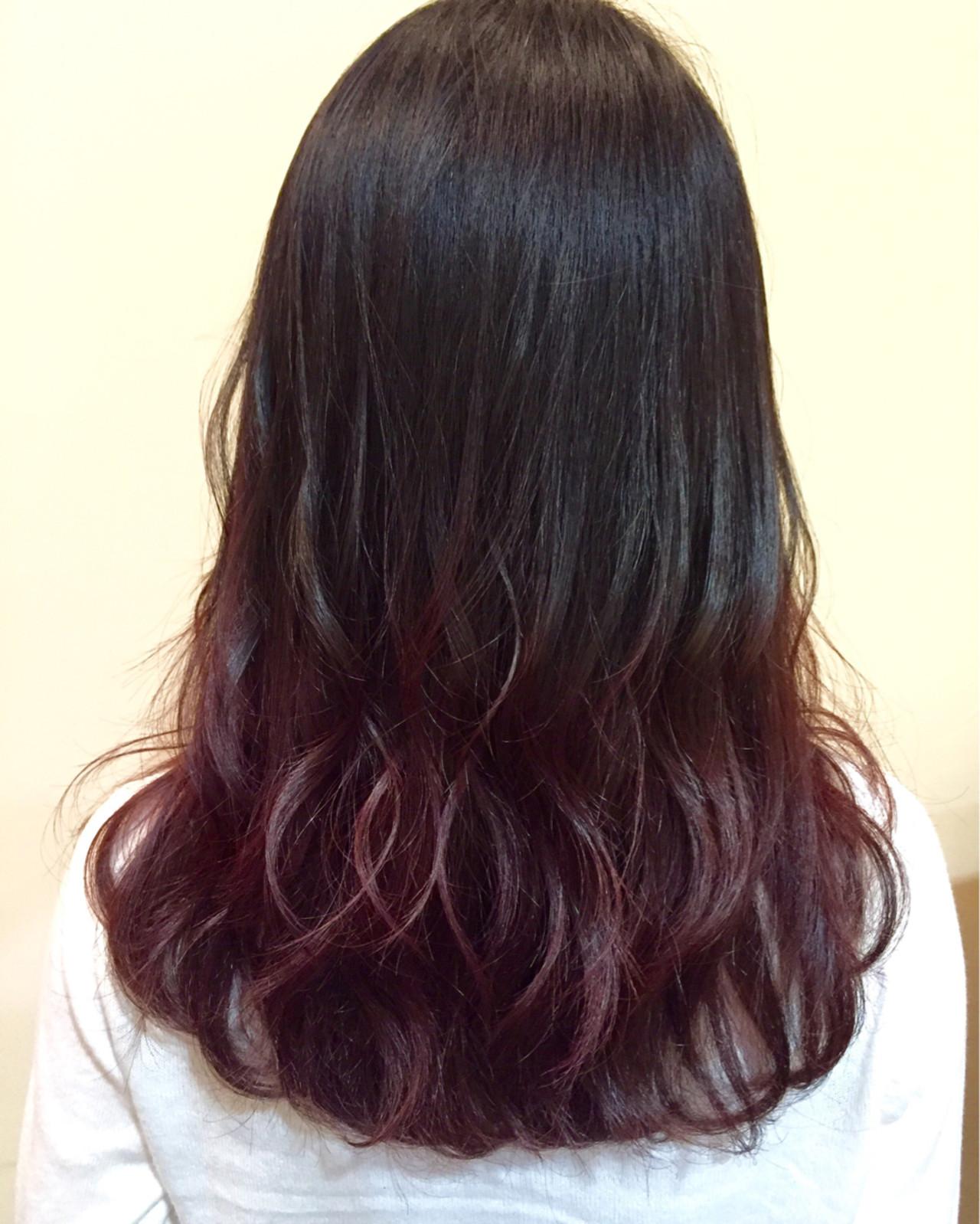ピンク ブリーチなし セミロング レッド ヘアスタイルや髪型の写真・画像 | 羽鳥 克哉 / kellys green