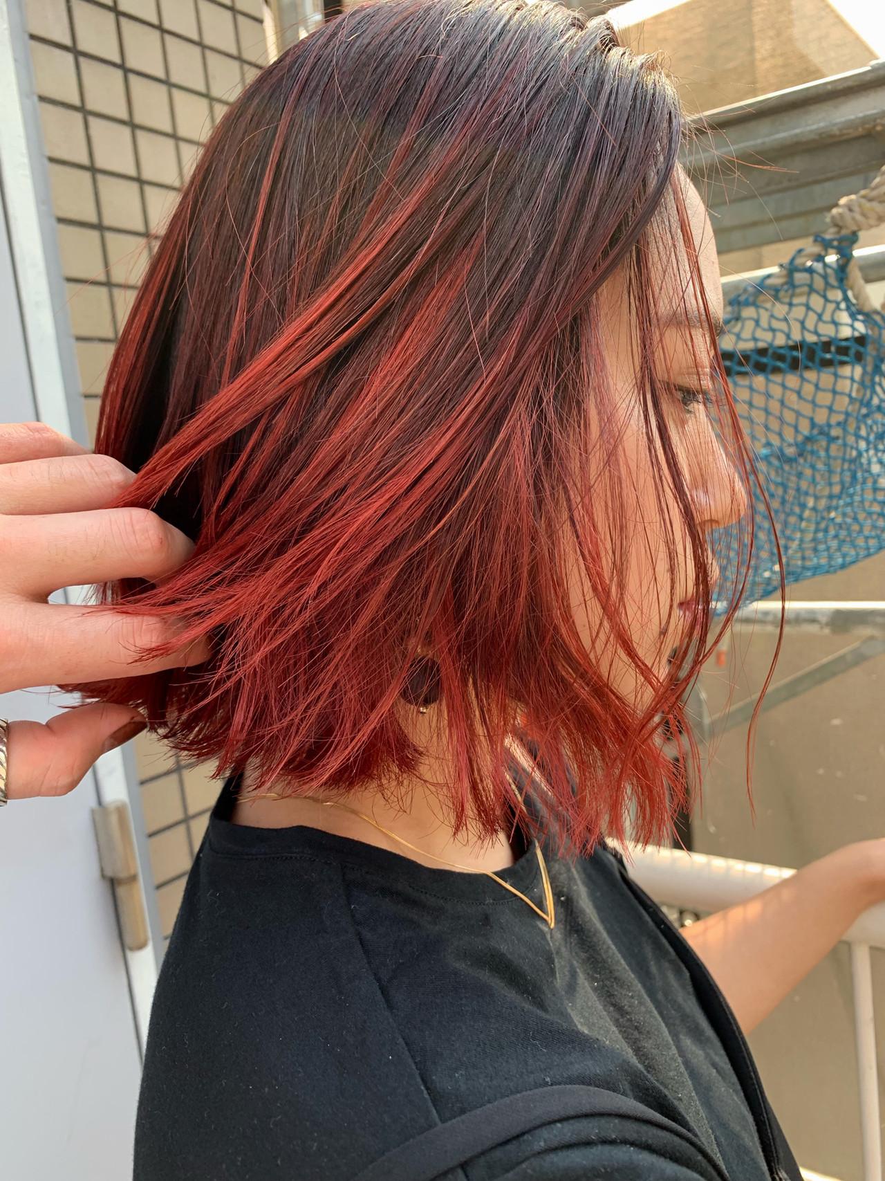 ストリート レッドカラー ボブ 3Dハイライト ヘアスタイルや髪型の写真・画像 | MORNING.miya/@1031miya / HAIR MORNING.