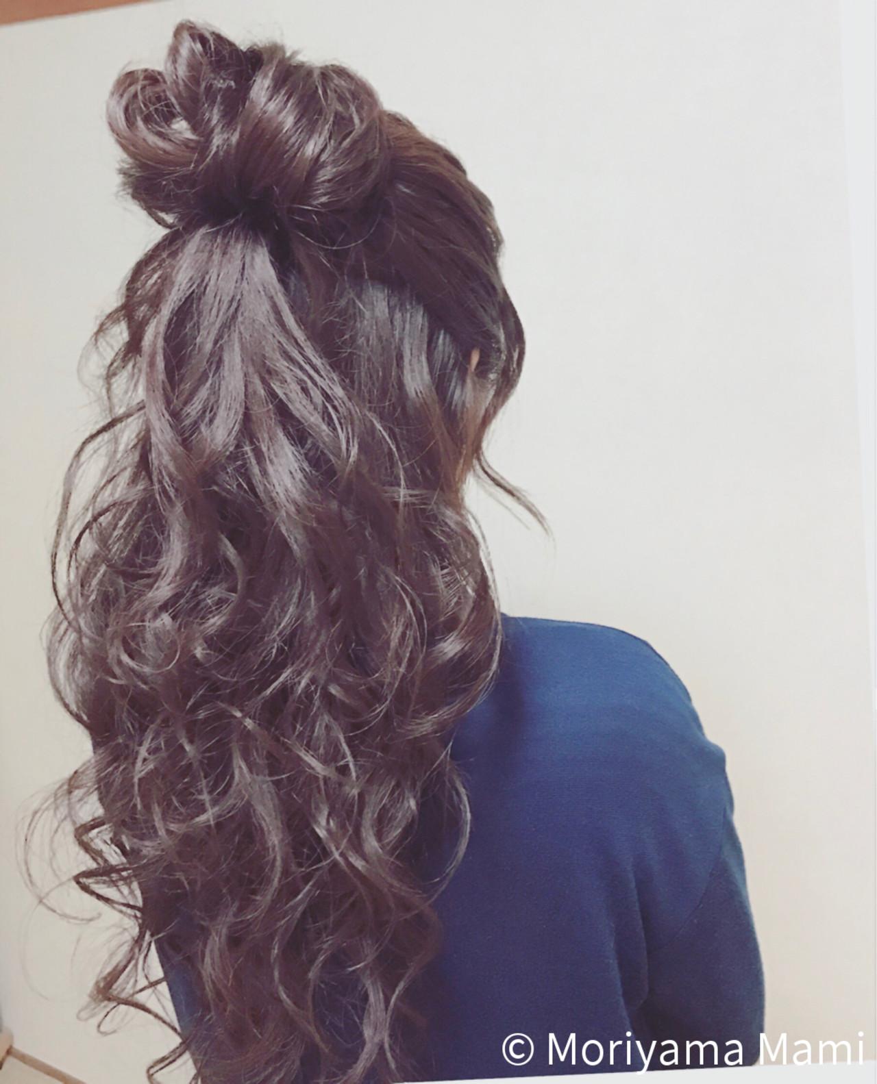大人女子 大人かわいい ハーフアップ ナチュラルヘアスタイルや髪型の写真・画像