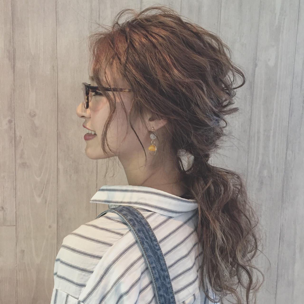 ふわふわ ガーリー ヘアアレンジ ポニーテールヘアスタイルや髪型の写真・画像