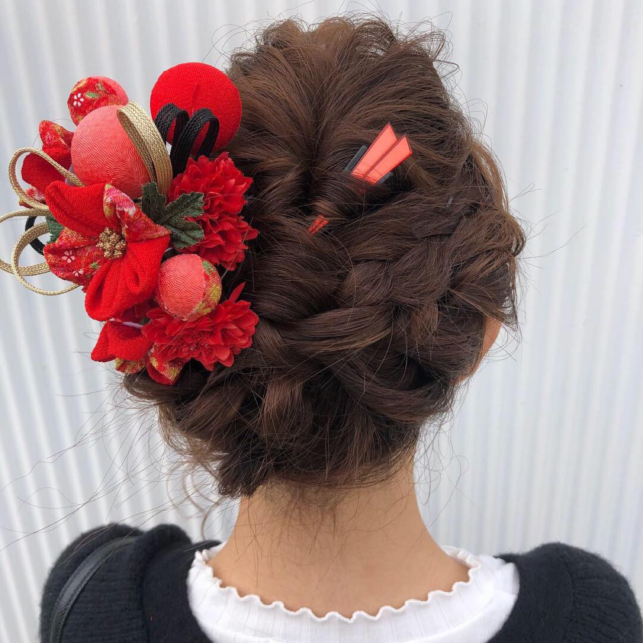 結婚式 成人式 ミディアム フェミニンヘアスタイルや髪型の写真・画像