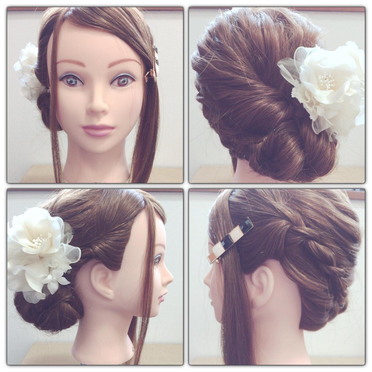 大人かわいい ヘアアレンジ 編み込み ショート ヘアスタイルや髪型の写真・画像 | yu /