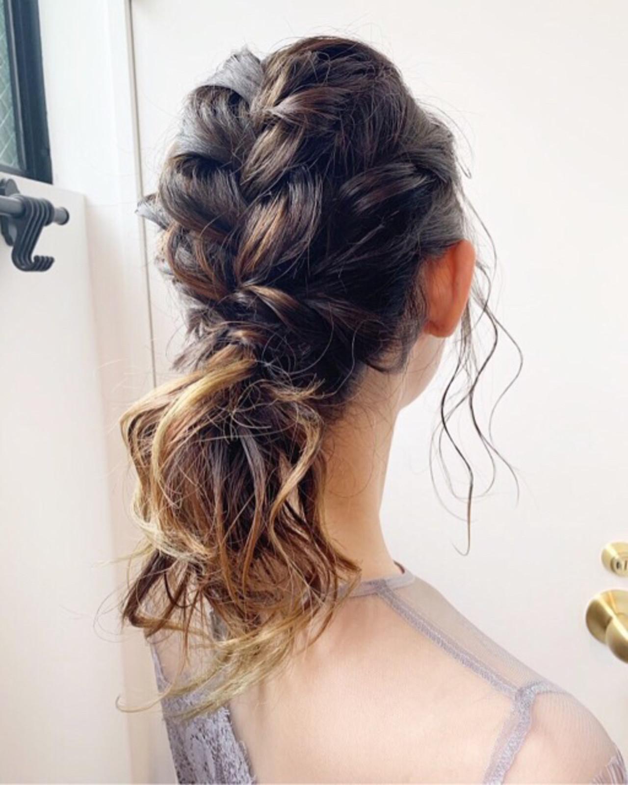 結婚式 アッシュグラデーション ヘアアレンジ ミディアム ヘアスタイルや髪型の写真・画像 | COM PASS 太一 / COM PASS