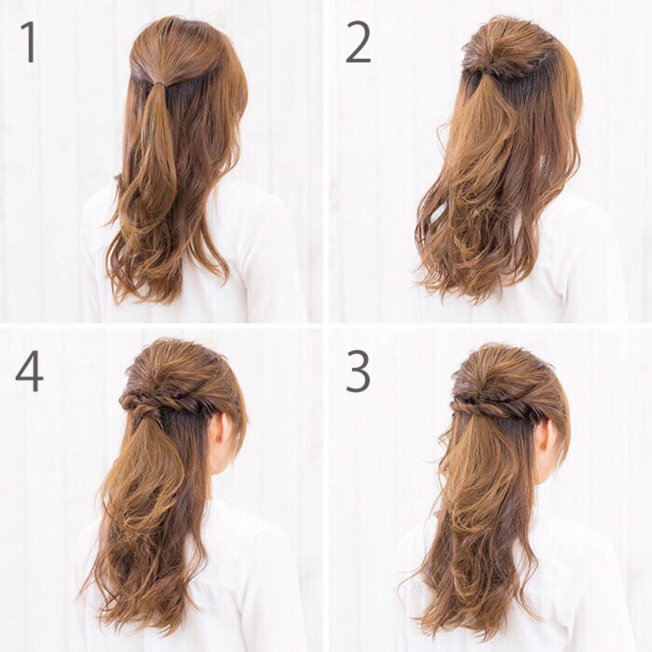 ハーフアップ 女子会 簡単ヘアアレンジ ナチュラルヘアスタイルや髪型の写真・画像