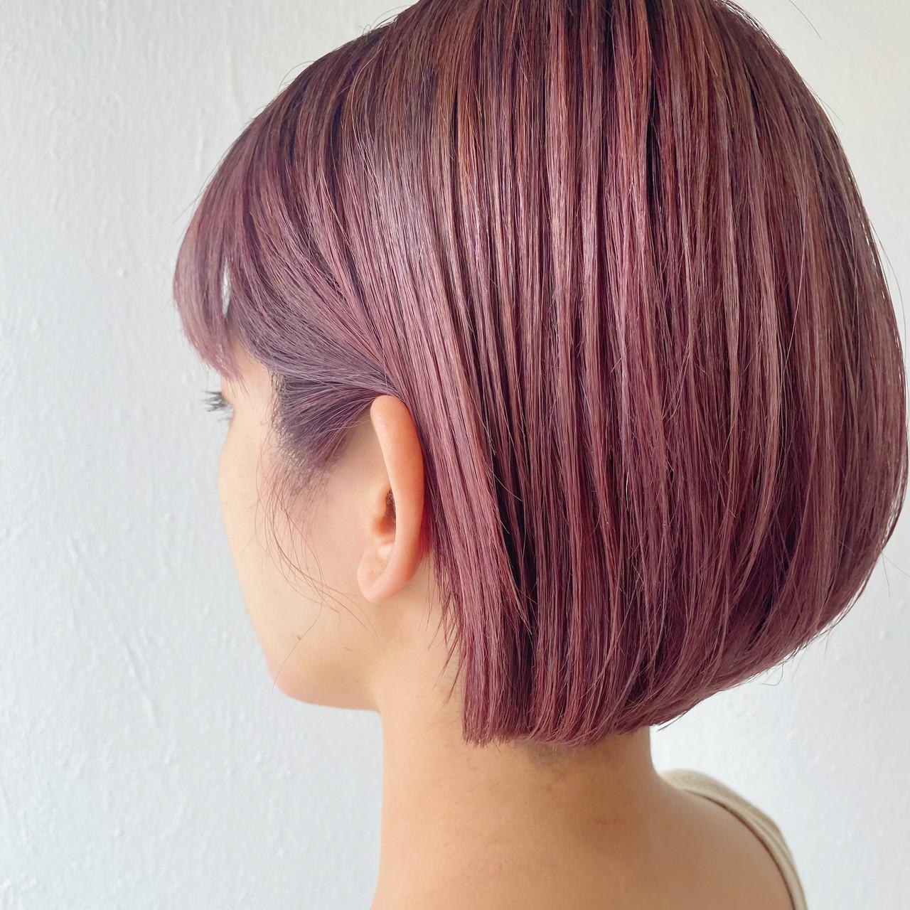 切りっぱなしボブ ナチュラル ピンクベージュ ショートボブ ヘアスタイルや髪型の写真・画像 | 松本 健 / KHAKI