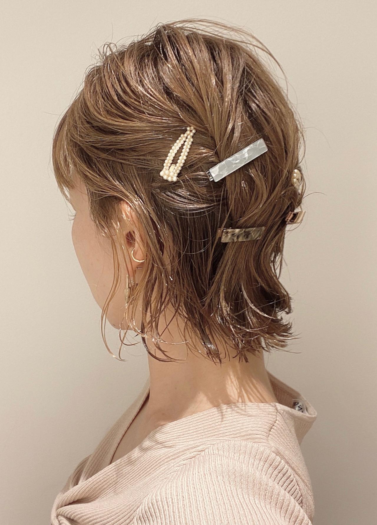 ナチュラル 切りっぱなしボブ 簡単ヘアアレンジ ミニボブ ヘアスタイルや髪型の写真・画像