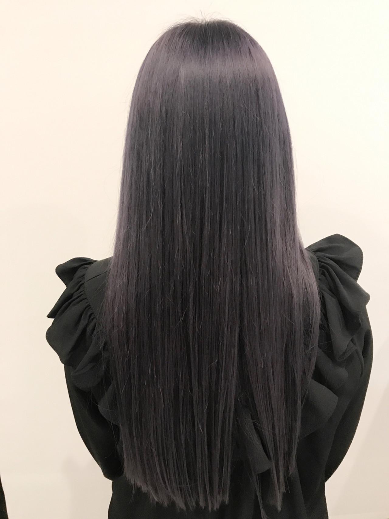 ブルー グレージュ パープル ガーリーヘアスタイルや髪型の写真・画像