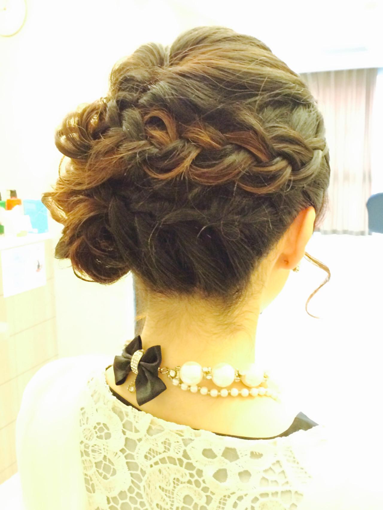 結婚式 編み込み ヘアアレンジ 大人かわいい ヘアスタイルや髪型の写真・画像 | 木脇麻未 / トータルビューティーデザインオフコース