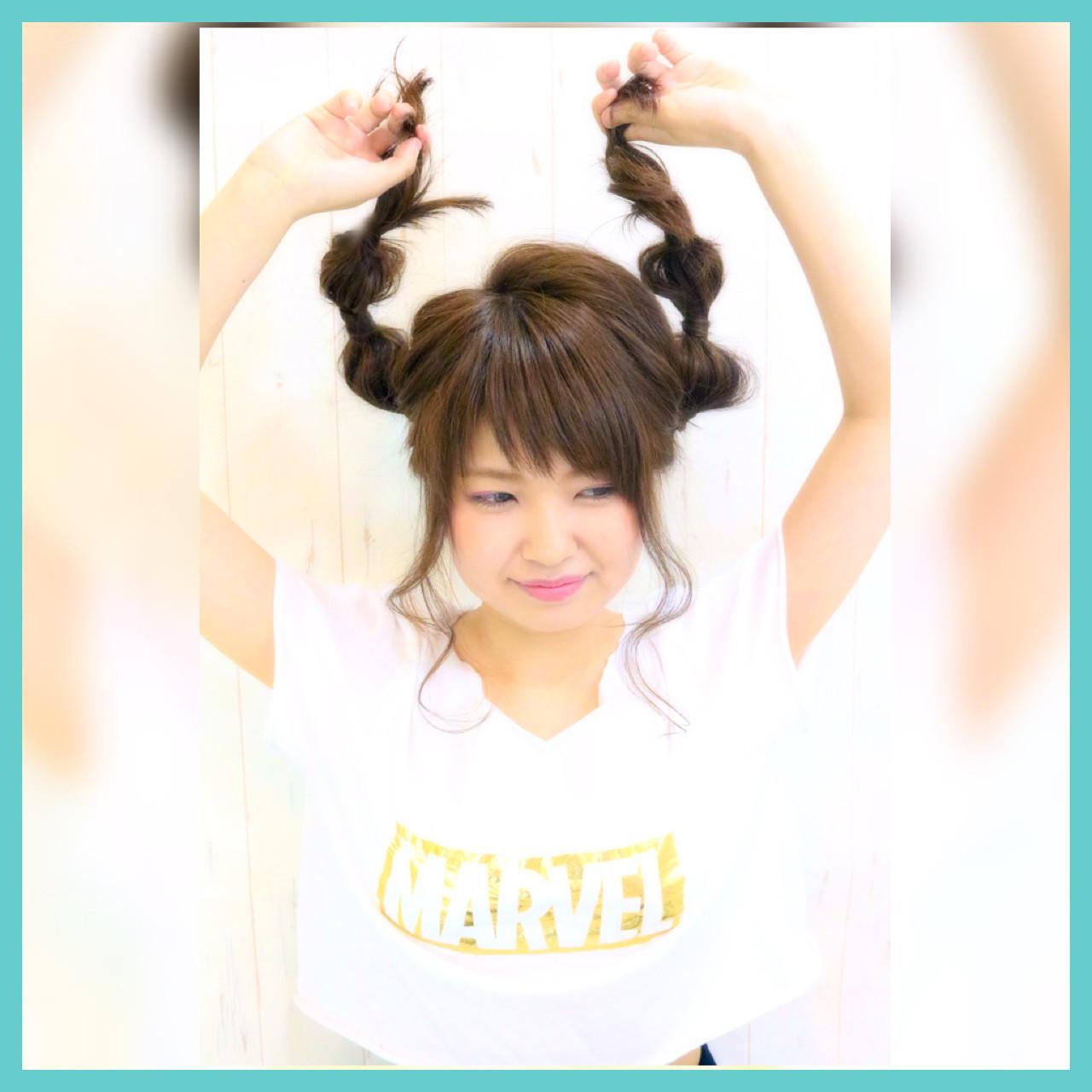 ショート セミロング ブラウン ガーリー ヘアスタイルや髪型の写真・画像   kazuya imaizumi / rayfield toyohashi makino