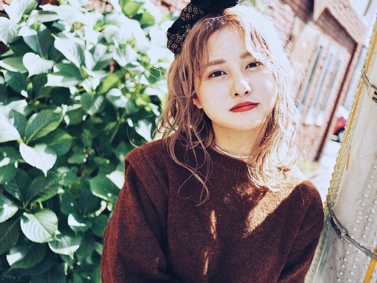 韓国風ヘアー ガーリー スカーフアレンジ ヘアアレンジ ヘアスタイルや髪型の写真・画像 | 村井優紀 / FITS CORE フィッツコア