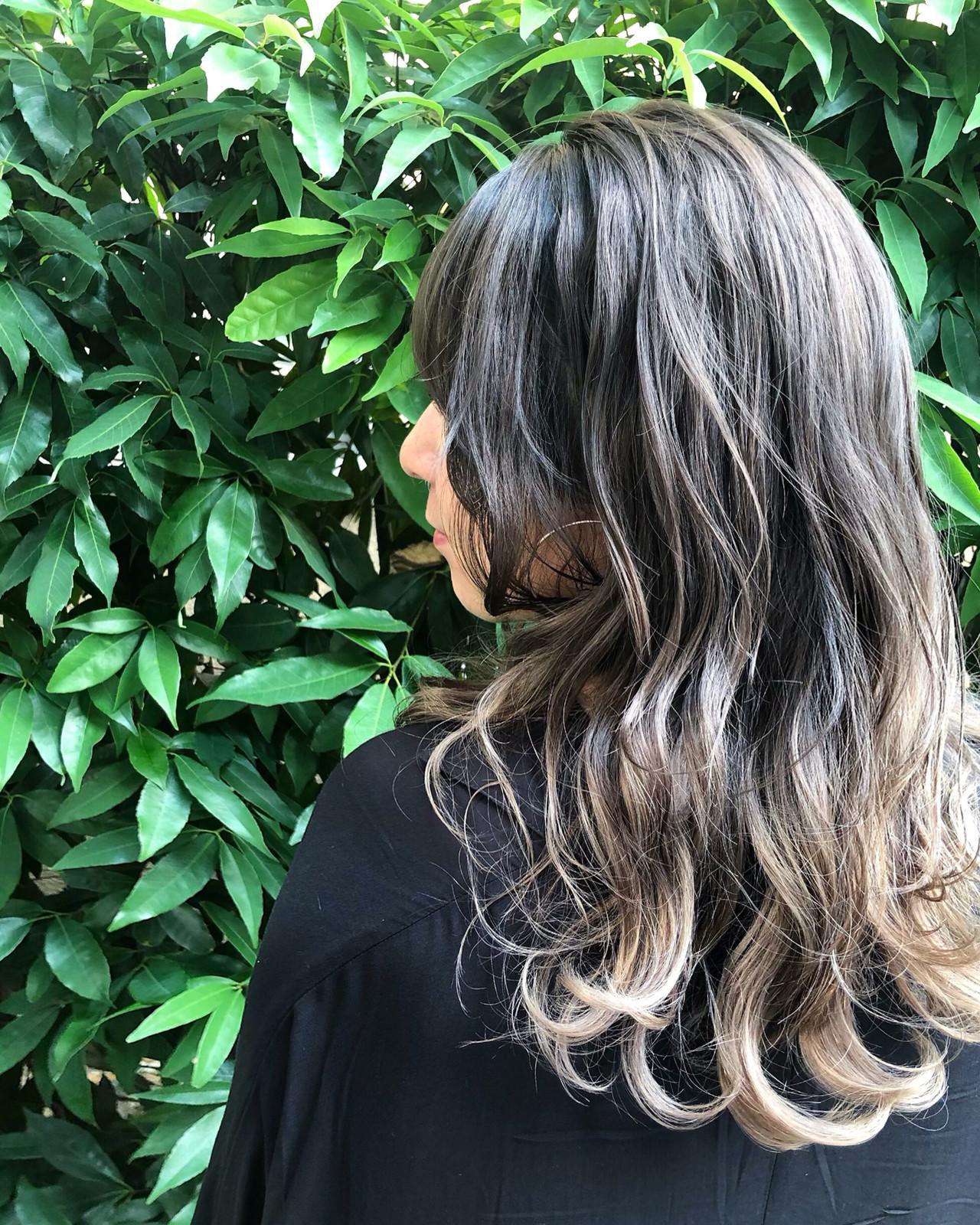 ハイライト ナチュラル ユニコーンカラー セミロング ヘアスタイルや髪型の写真・画像 | RUMINA //高田ゆみこ / Rumina