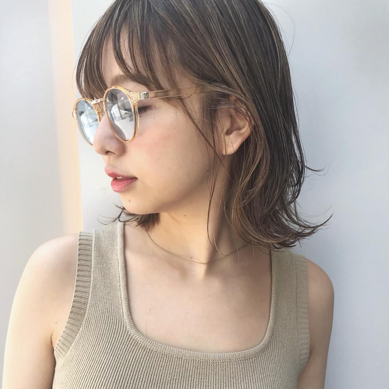 アウトドア 外ハネ ボブ ロブ ヘアスタイルや髪型の写真・画像 | 信澤貴一【愛され大人可愛いヘア美容師】 / un ami kichijoji