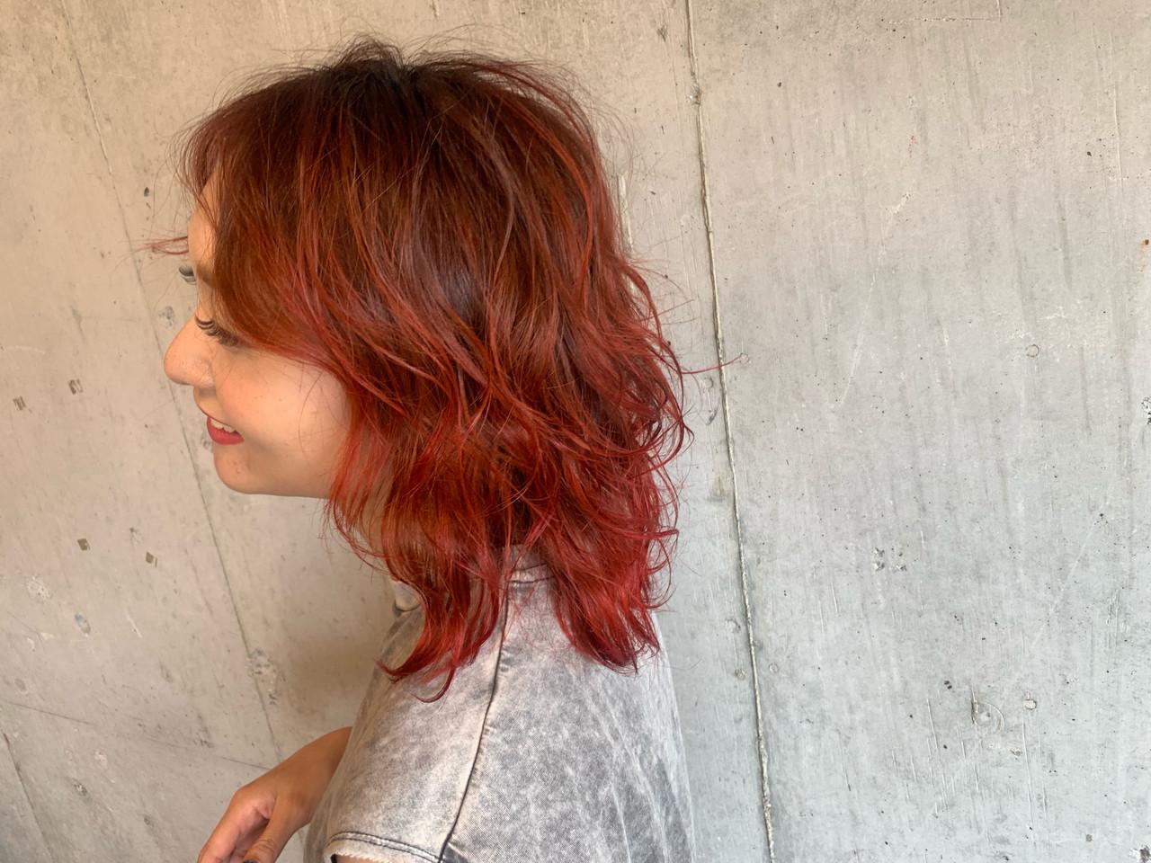 ストリート バレイヤージュ ヘアアレンジ コテ巻き ヘアスタイルや髪型の写真・画像   玉城 瑞萌 / Haircolor&Eyelash PORT