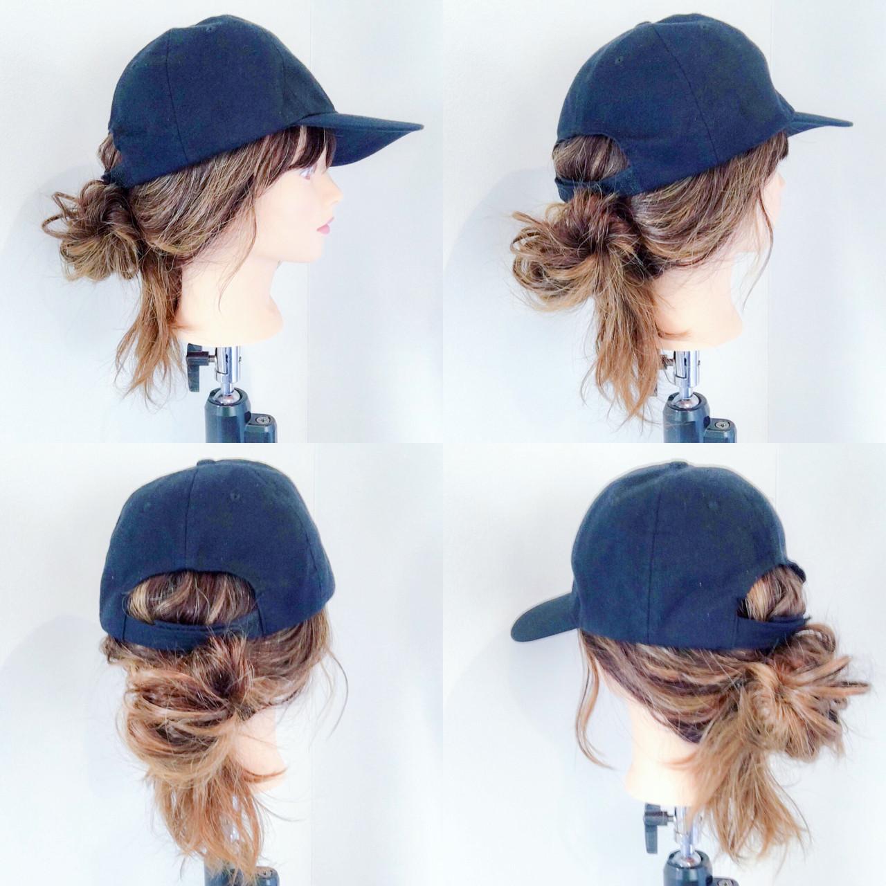 セミロング キャップ ポニーテール アウトドア ヘアスタイルや髪型の写真・画像 | 美容師HIRO/Amoute代表 / Amoute/アムティ